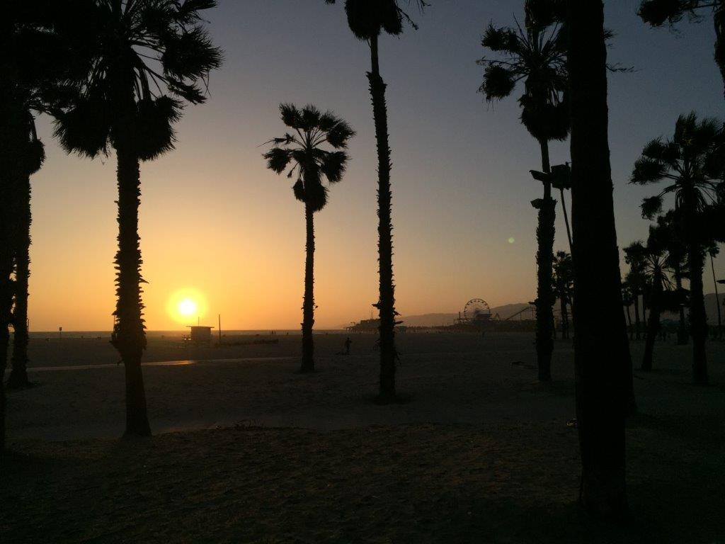 Sonnenuntergang Starand Santa Monica, Kalifornien Los Angeles