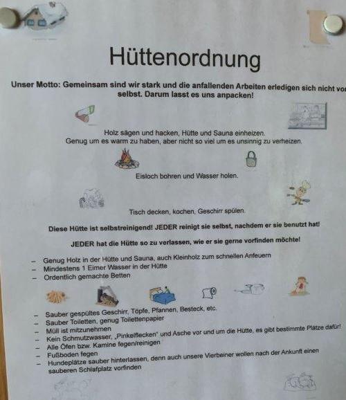 Hüttenordnung Husky Wildneshütte