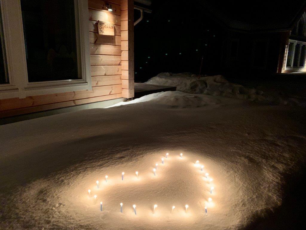 Dankeschön Herz Schnee Kerzen